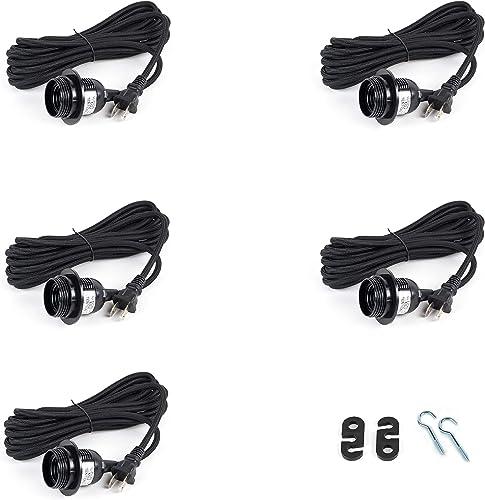 Rustic State 5 Black Fabric Cord Set 15 Feet Hanging Pendant Light Fixtures