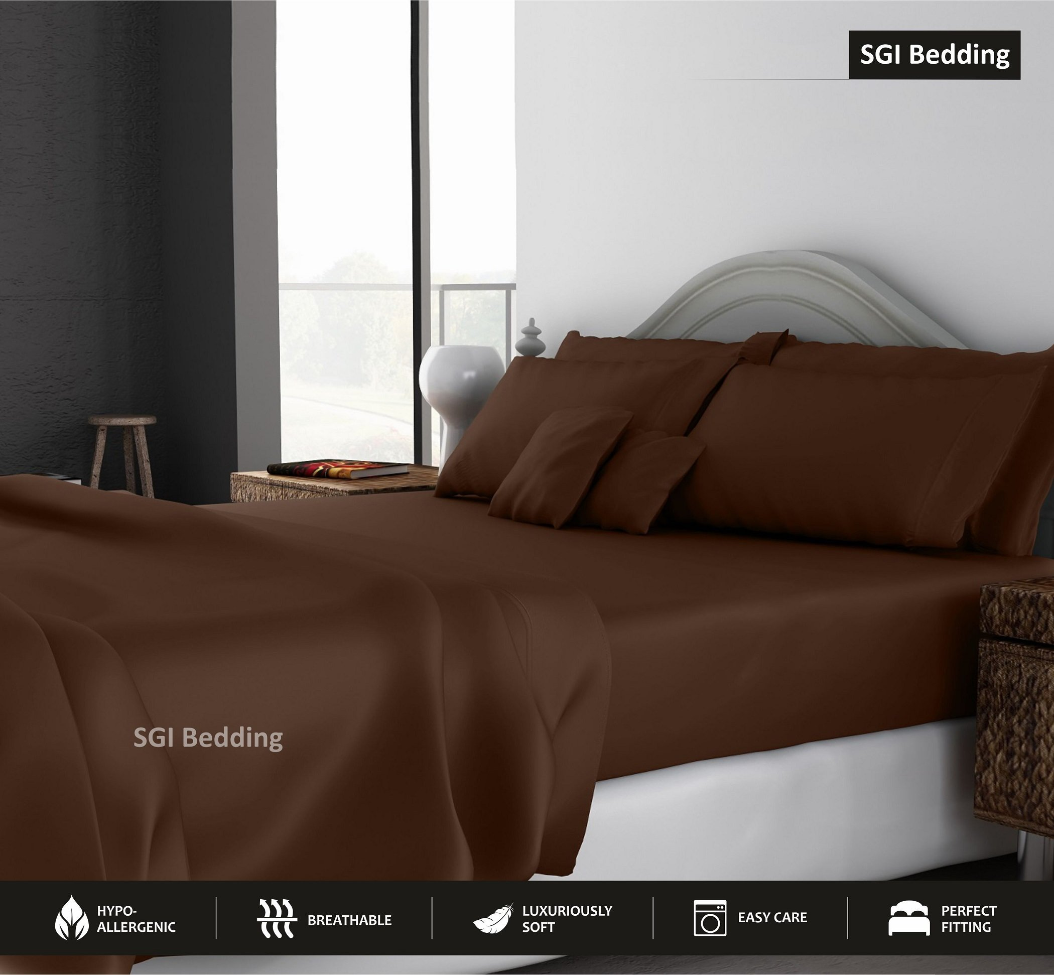 TWIN SIZE SHEETS LUXURY SOFT 100% EGYPTIAN COTTON -Exotic Bedding Collection Bed Sheet Set for Twin Size39x75'' Mattress Chocolate SOLID 600 Thread Count 15'' Deep Pocket