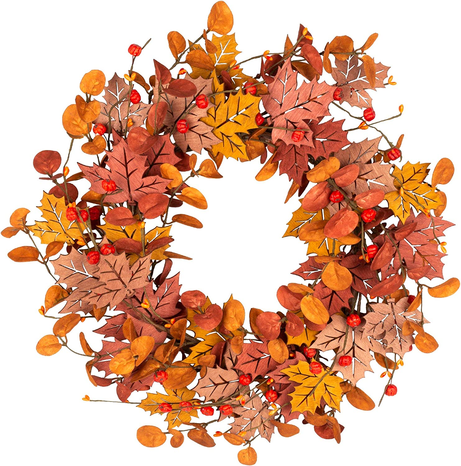 VGIA 18 InchFall Wreath Front Door Wreath Autumn Wreath with Wood Maple Leaves AutumnDecorations with Golden andRed Foliagefor Home