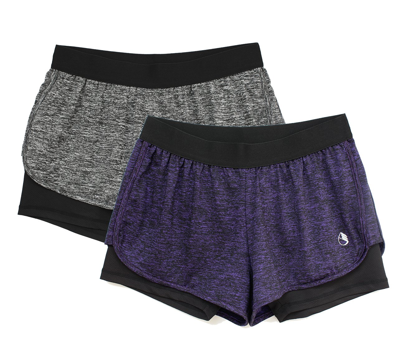 icyzone Running Yoga Shorts Women - Activewear Workout Exercise Athletic Jogging Shorts 2-in-1 (Charcoal/Purple, M)