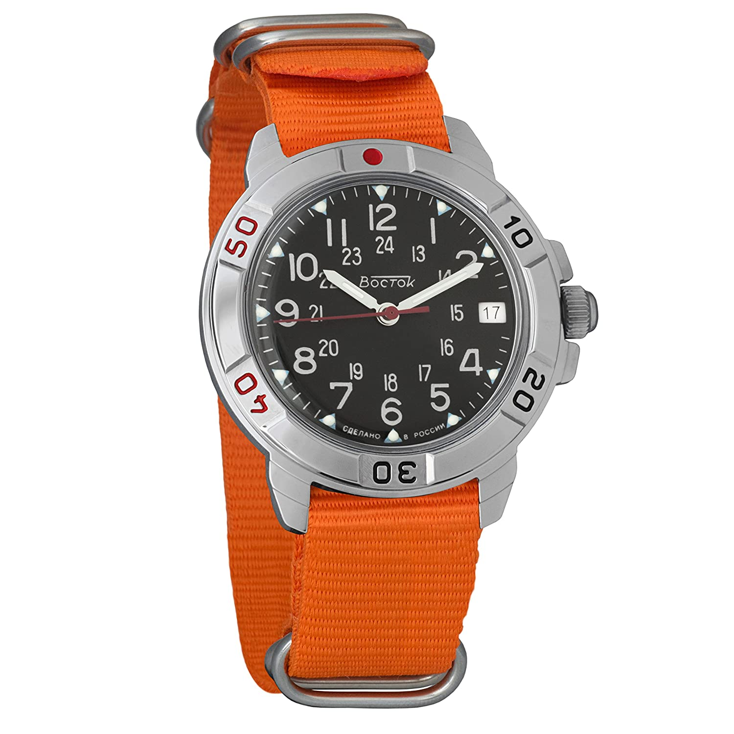 Amazon.com: Vostok Komandirskie 24 Hour Dial Mechanical Mens Military Wrist Watch #431783 (orange): Watches