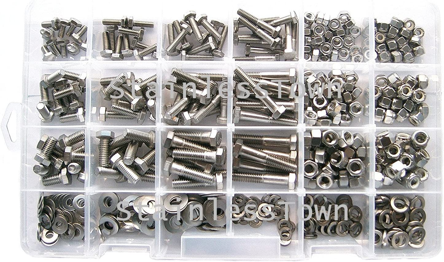 StainlessTown Stainless Steel Master Hex Head Bolt Assortment 18-8 with Free Size Gauge