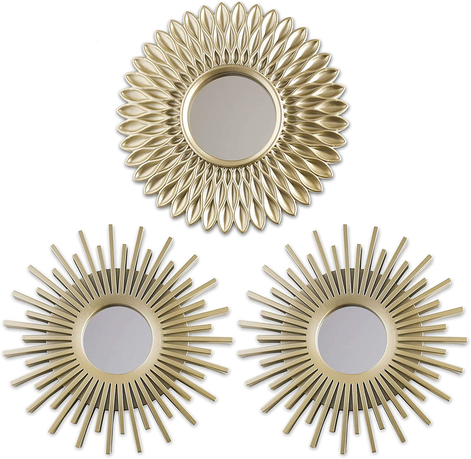 Gold Mirrors for Wall Pack of 3 - BONNYCO   Wall Mirrors for Room Decor & Home Decor   Champagne Gold Round Mirrors for Wall Decor   Circle Mirrors Modern Gifts for Women & Moms   Decorative Mirrors…