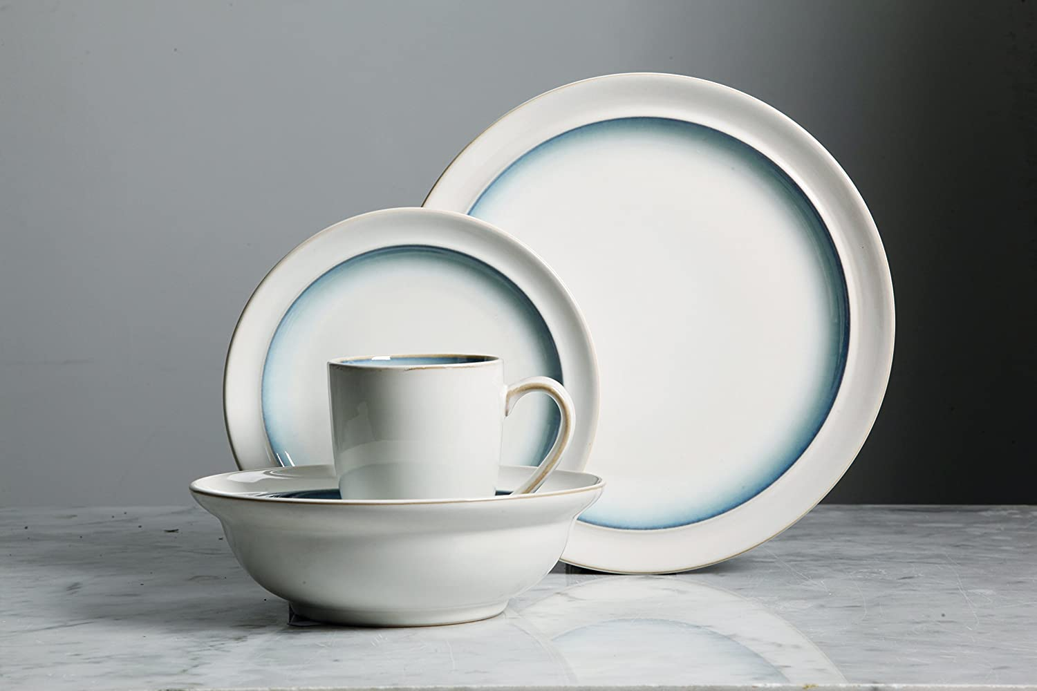 White//Brown Gibson Elite 114305.16RM Lawson 16 Piece Reactive Dinnerware Set