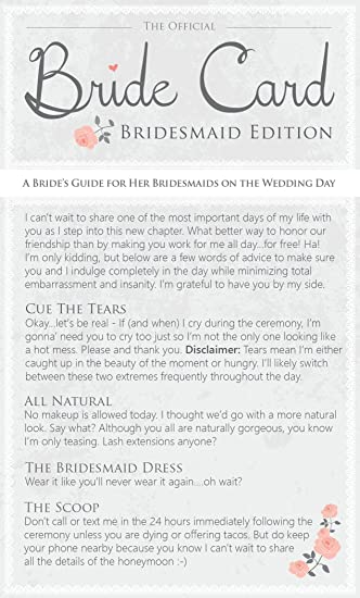 Bridesmaid Gifts Funny Thank You Cards Written For Easygoing Brides For Their Bridesmaids
