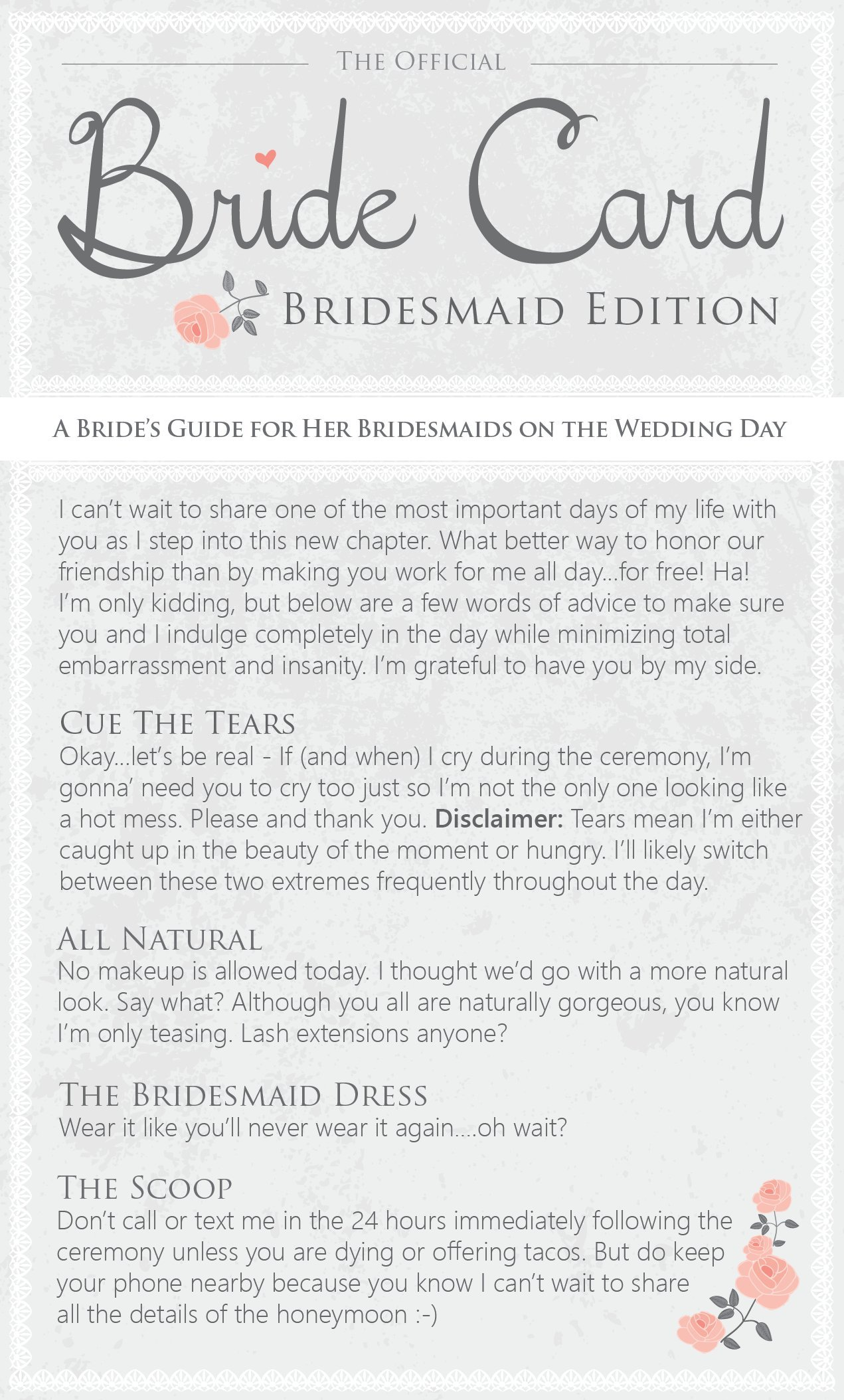 Bridesmaid Gifts - Funny Thank You Cards - Written for Easygoing Brides for Their Bridesmaids - The Bride Card - Bridesmaid Edition - Set of 6