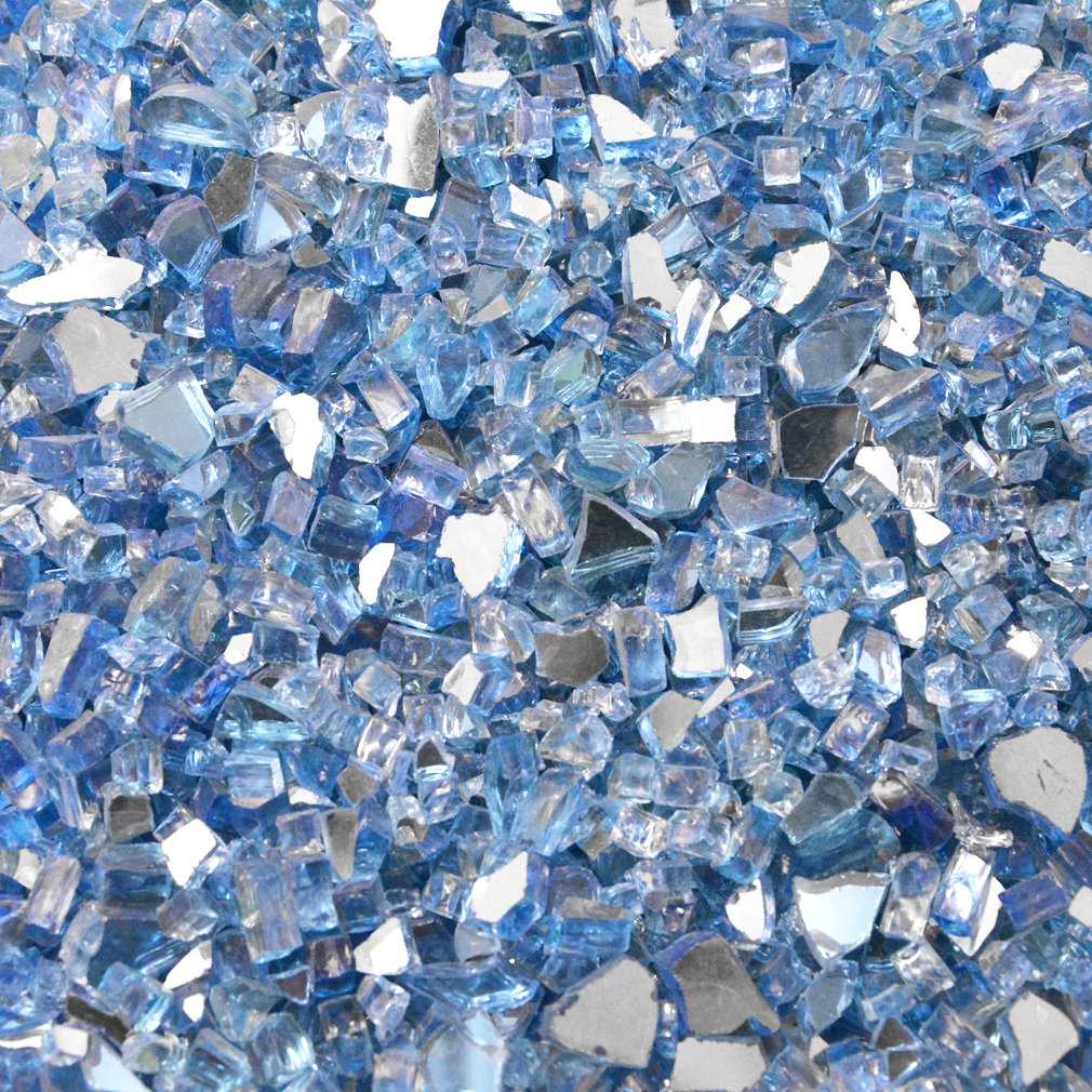 Stanbroil 10-Pound Fireplace Glass and Fire Pit Glass, Pacific Blue Mixed with Reflective, 1/4-Inch by Stanbroil