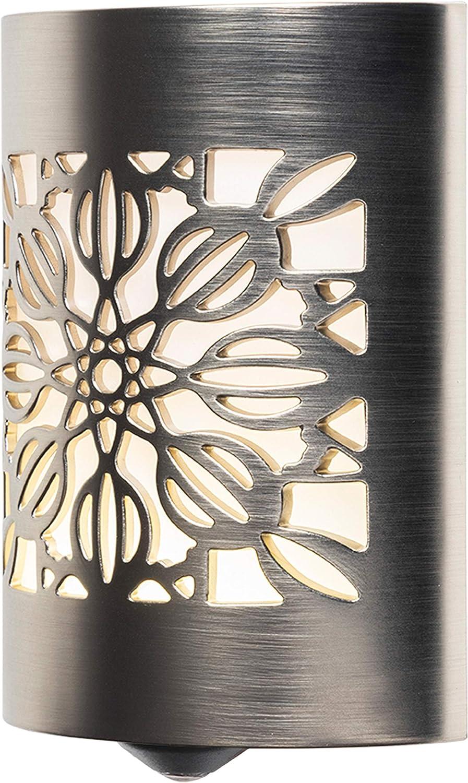 GE CoverLite LED Night Light, Plug-in, Dusk to Dawn Sensor, Home Decor, UL-Listed, Ideal for Kitchen, Bathroom, Bedroom, Office, Nursery, Hallway, 29845, 1 Pack, Brushed Nickel   Floral