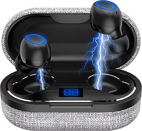 Wireless Earbuds, bomow True Wireless Earbuds with Charging Case, Bluetooth 5.0 in-Ear Earphones 36H Cyclic Playtime, IP65 Waterproof TWS Stereo Bluetooth Headphones with Mic Premium Sound for Sport