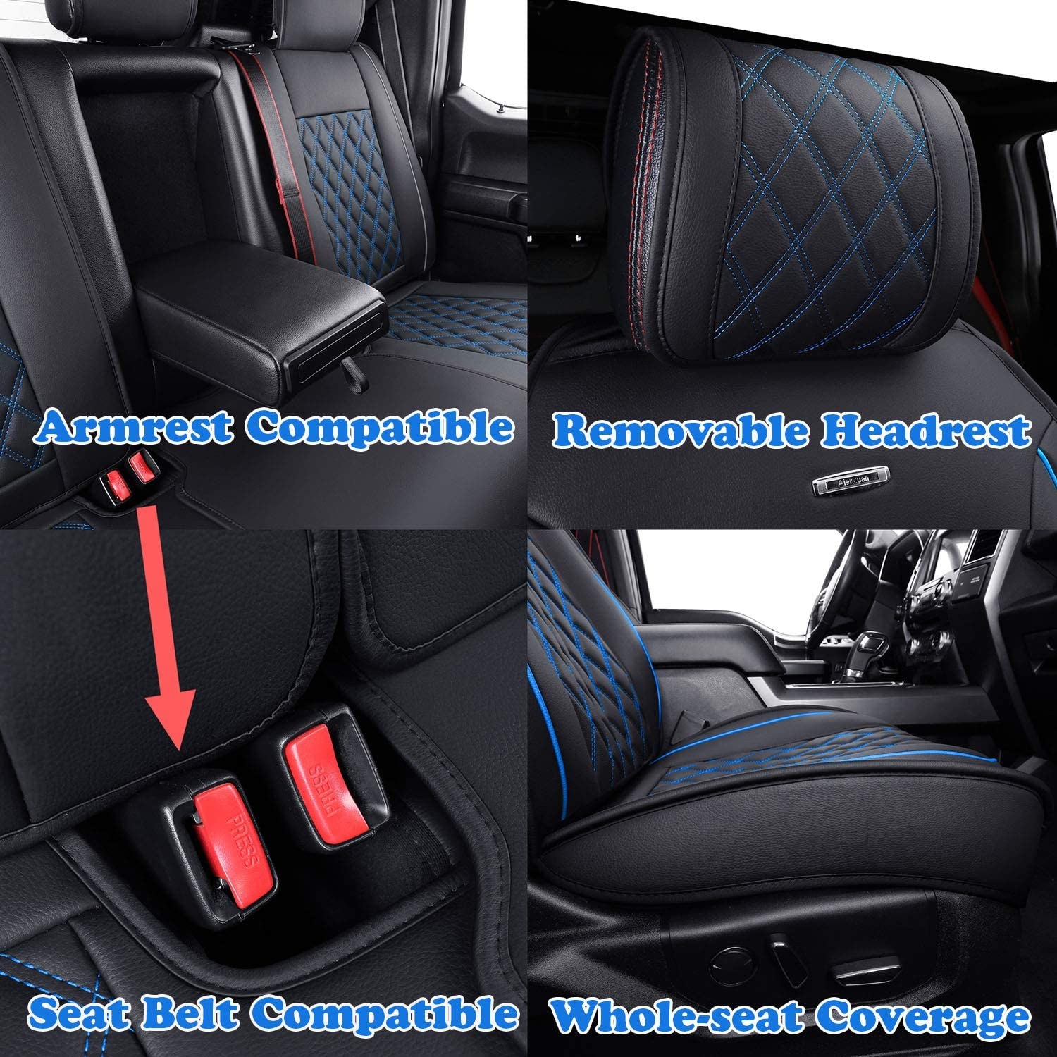 Black and Blue Aierxuan Rear Car Seat Covers with Waterproof Leather Automotive Vehicle Cushion Cover Universal fit for Most Cars-YGPK Series