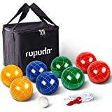 ROPODA 90mm Bocce Ball Set with 8 Balls, Pallino, Case and Measuring Rope for Backyard, Lawn, Beach & More (4 to 8 Person Boc