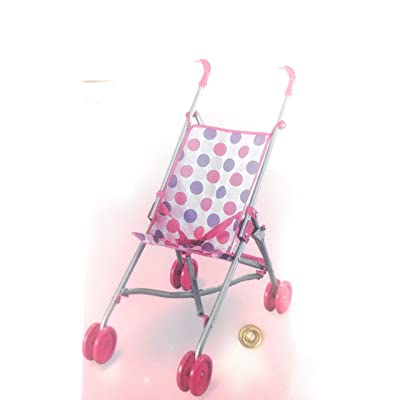 Lollipop Pink Dots Folding Doll Stroller: Toys & Games
