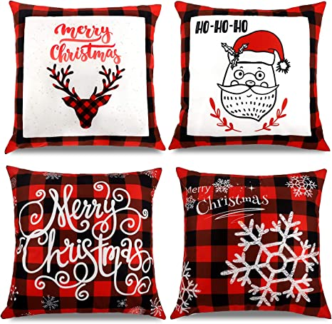 Boao 4 Pieces Christmas Pillow Covers