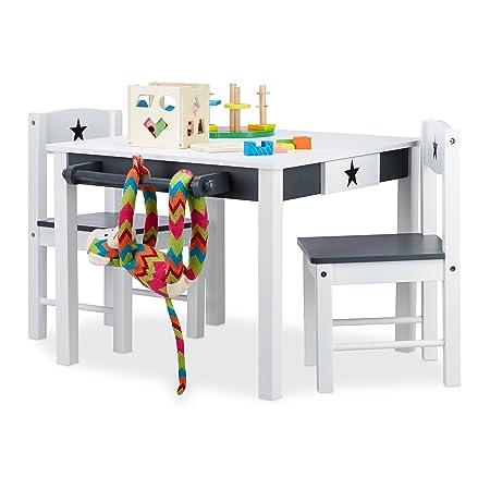Relaxdays Kindersitzgruppe Star, Tisch u. 2 Stühle, aus Holz, Kindertischgruppe für Jungen und Mädchen, Stern, weiß-grau