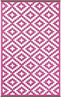 Lightweight Outdoor Reversible Plastic Rug Nirvana Pink / Cream   120 Cm X  180 Cm (