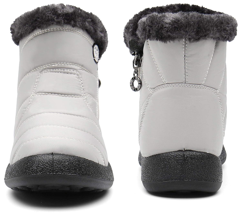 LADIES WOMENS WARM WINTER GRIP SOLE ANKLE FUR LINE FLAT SHOES BOOTS SIZE 3-9