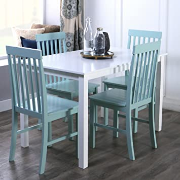 Amazon.com - New 5 Piece Chic Dining Set-Table and 4 Chairs-White ...