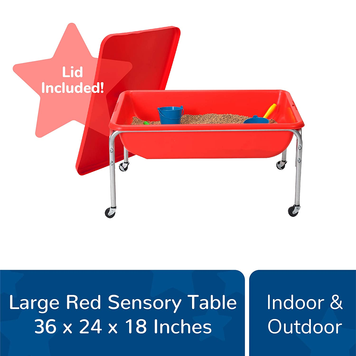 """Beads and More Fill with Water Indoor or Outdoor Use Red 36/"""" by 24/"""" by 24/"""" Sand Made of Durable Plastic Children/'s Factory Large Sensory Table and Lid Set Lid for Safe and Clean Storage"""