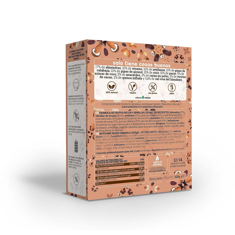 Granola -Natural Athlete- Desayuno con frutos secos y semillas - 100% natural, sin azúcar refinado. 325g (Cacao, coco y quinoa): Amazon.es: Alimentación y ...