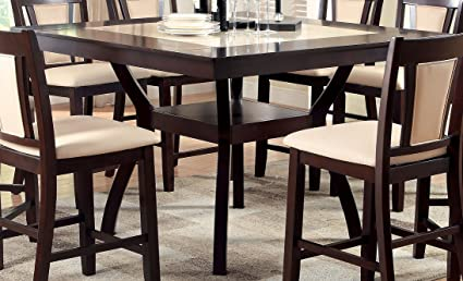 Furniture Of America Dalcroze Modern Pub Dining Table With Faux Marble Top