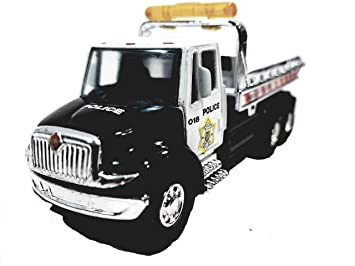 Amazon Com Showcasts Black White Police Flatbed Tow Truck Functional Rollback Wrecker 1 64 Scale Commercial Vehicle Beauty