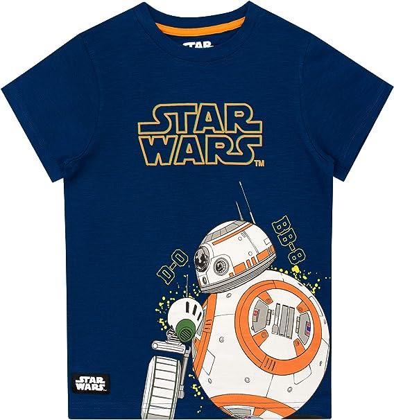 Star Wars Camiseta de Manga Corta para Niños D-O y BB8 La Guerra de Las Galaxias: Amazon.es: Ropa y accesorios