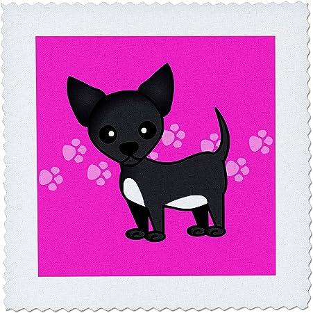 3dRose QS 12081 _ 1 Carcasa Negro Chihuahua Rosa Huellas