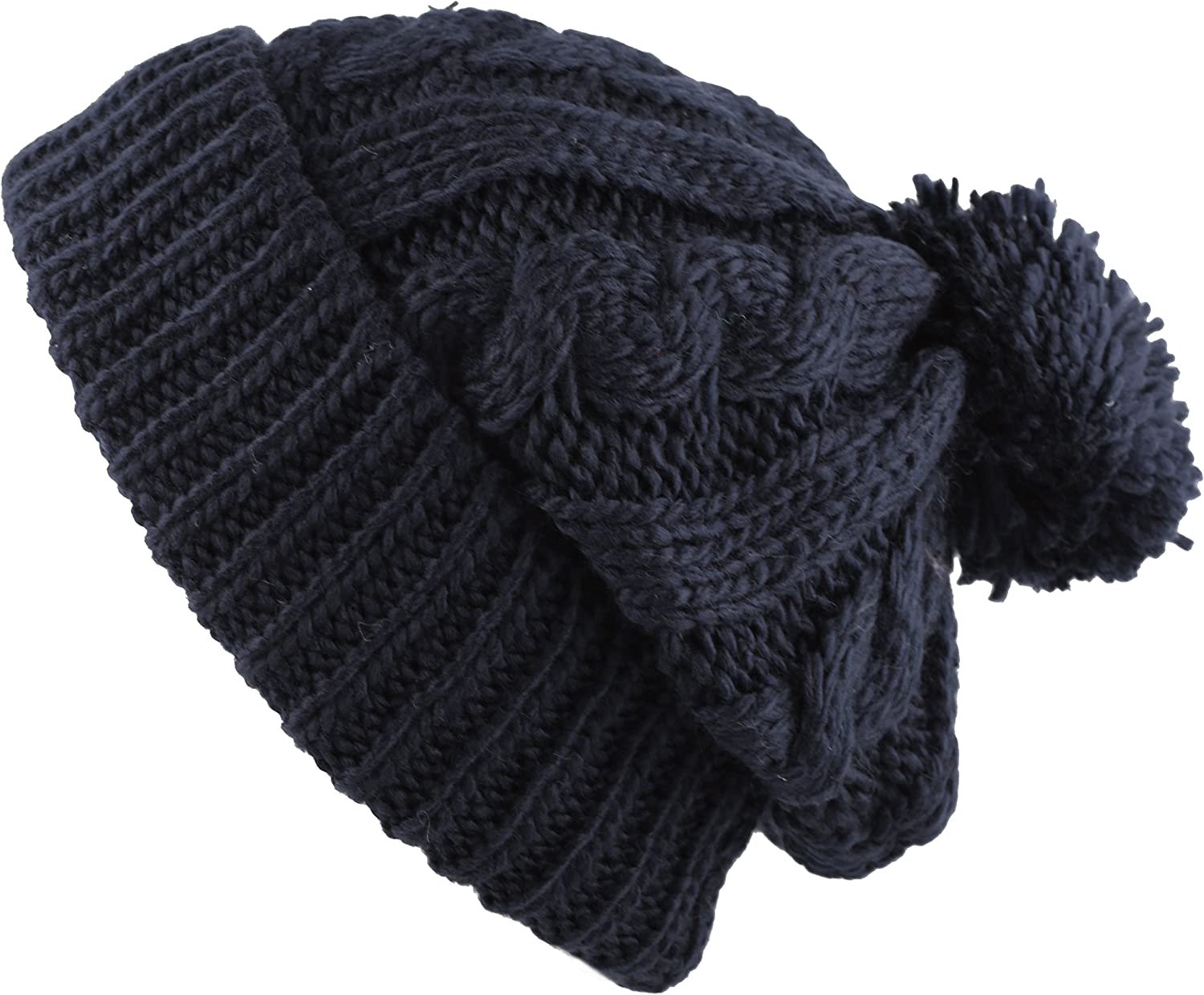 The Hat Depot Winter Thick and Warm Pom Pom Fleece Lined Skully Knit Beanie Hat (Navy) at  Women's Clothing store