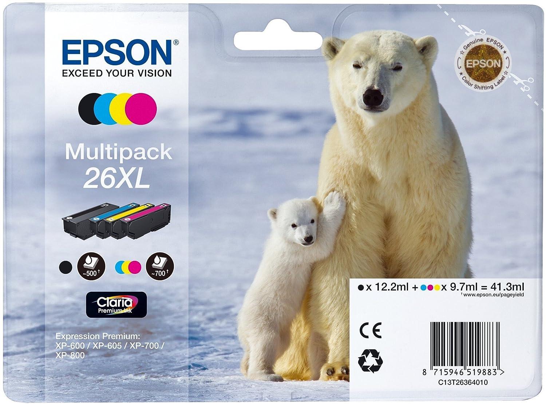 Genuine Multi-Coloured Epson Polar Bear 26 Multipack Ink Cartridges