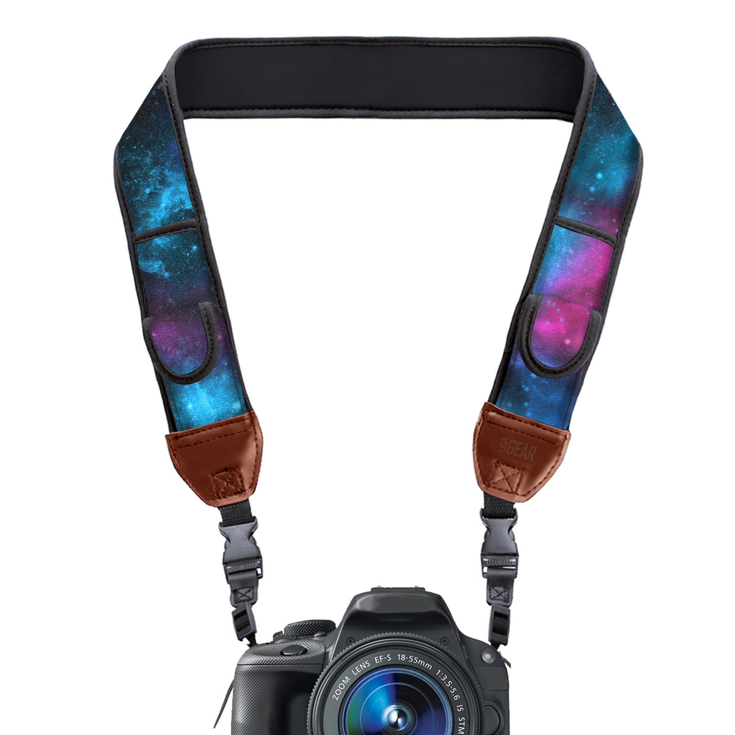 TrueSHOT Camera Strap with Galaxy Neoprene Pattern and Accessory Storage Pockets by USA Gear - Works With Canon, Fujifilm, Nikon, Sony and More DSLR, Mirrorless, Instant Cameras