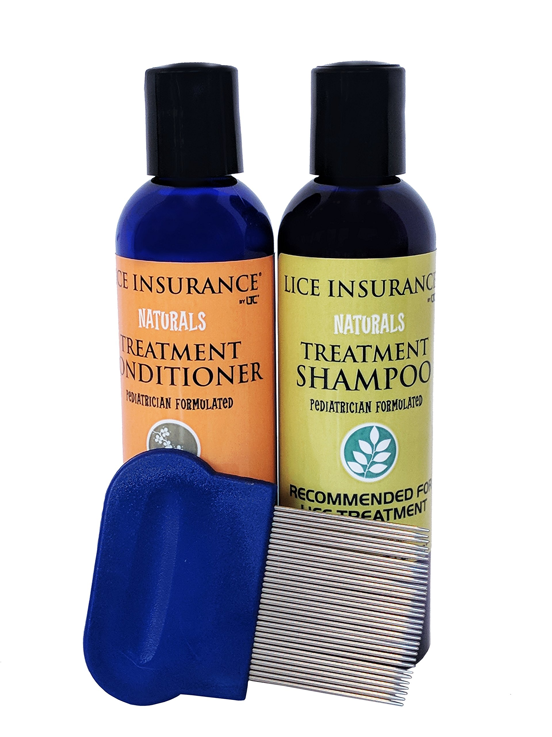Lice Treatment Center - Lice Insurance - All Natural, Professional Lice Treatment Kit - Lice Shampoo (4oz) and Lice Conditioner (4oz) and Stainless Steel Lice Comb