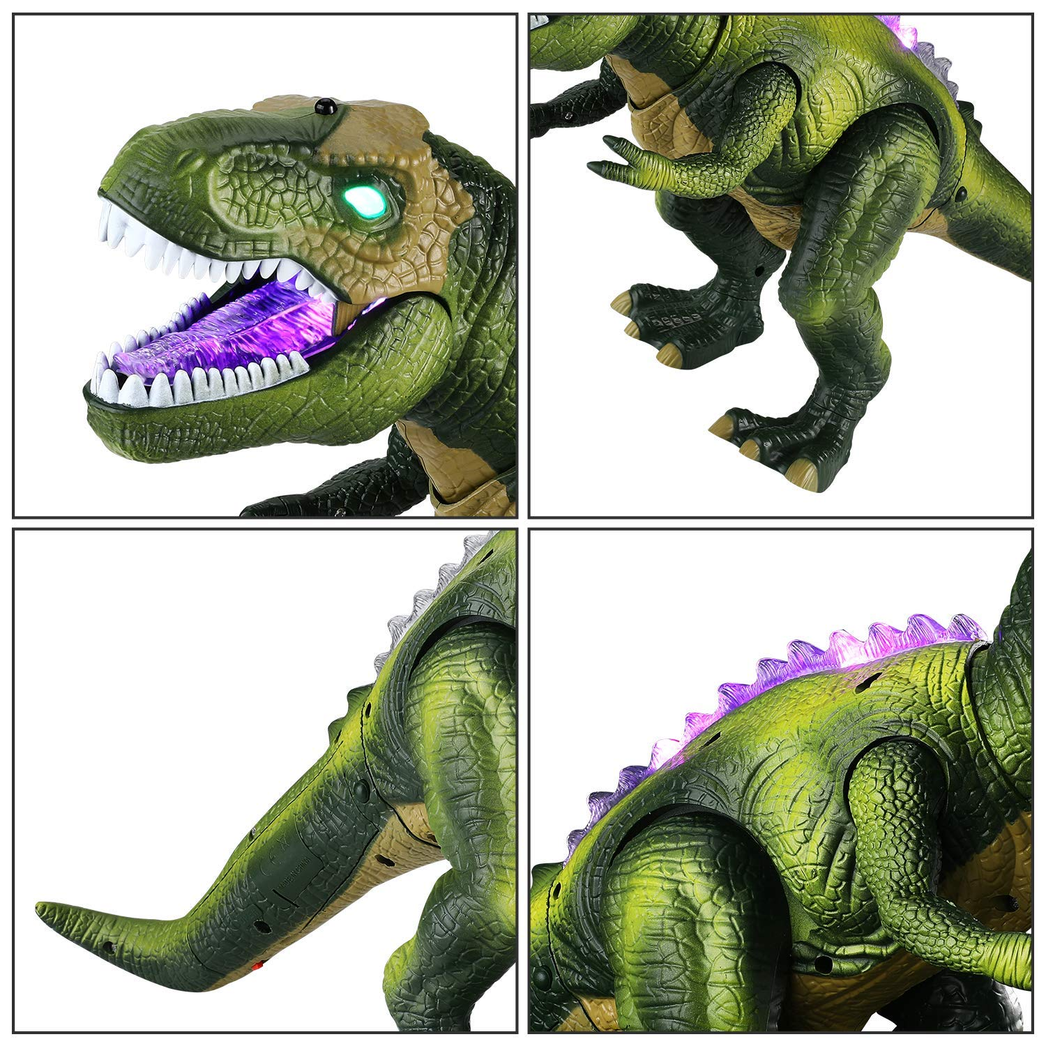 Tuko Light Up Remote Control Dinosaur Toys Jurassic World Walking and Roaring Realistic T-Rex Dinosaur Toys with Glowing Eyes, Walking Movement, Shaking Head for Toddlers Boys Girls by Tuko (Image #5)