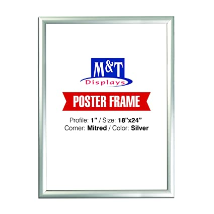 Amazon.com - Snap Frame 18 X 24 Inch, Poster Size 1 Inch, Silver ...