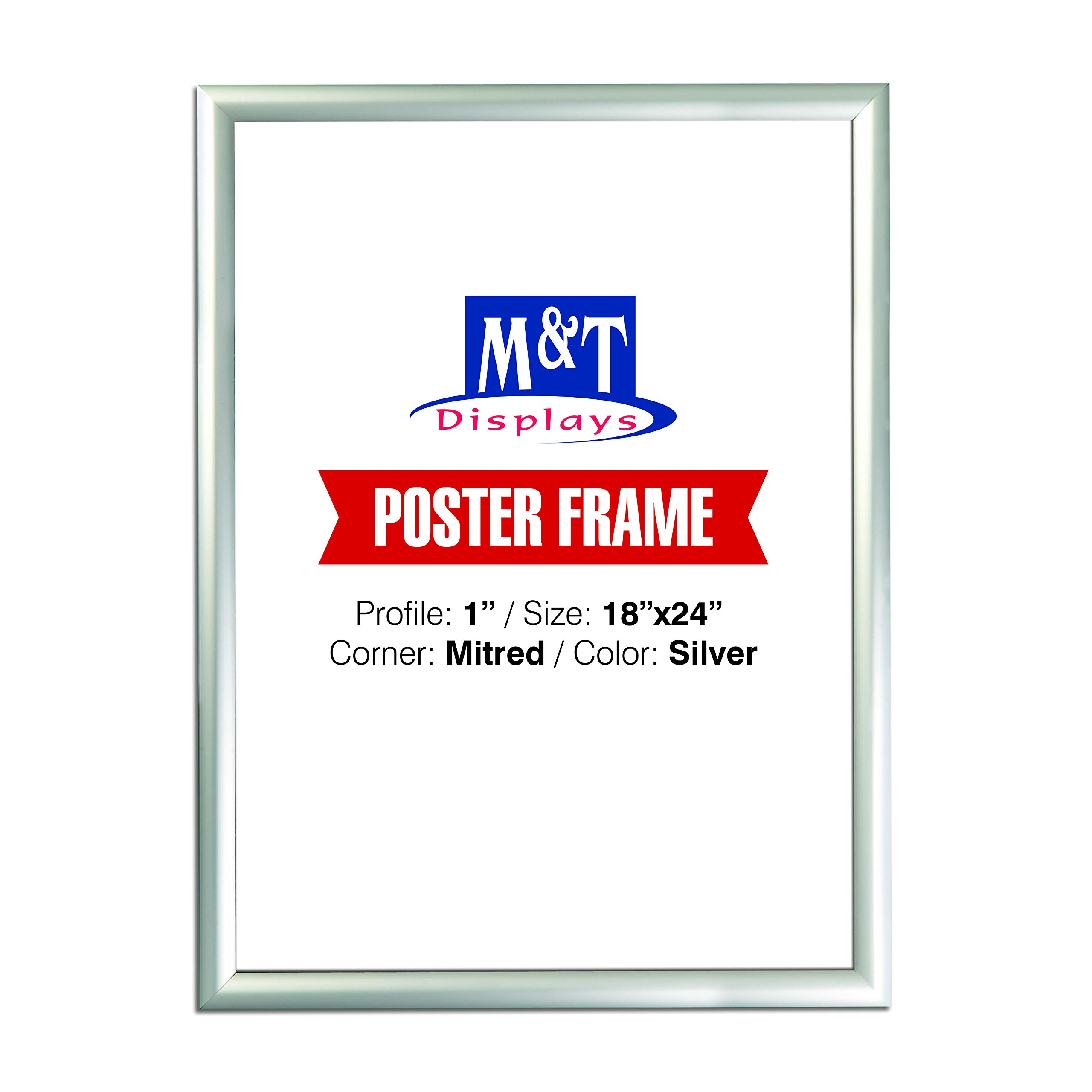 Snap Frame 18 X 24 Inch, Poster Size 1 Inch, Silver Color Profile, Mitred Corner