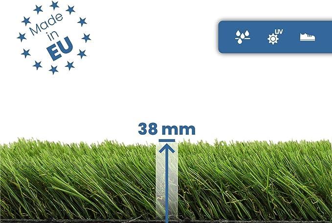 Wasserdurchl/ässiger Fertigrasen Rollrasen Kunstrasen Meterware 42mm Hoch PINE VALLEY Terrasse /& Garten 2,00m x 5,00m Hochwertiger Kunstgras Kunstrasen f/ür Balkon