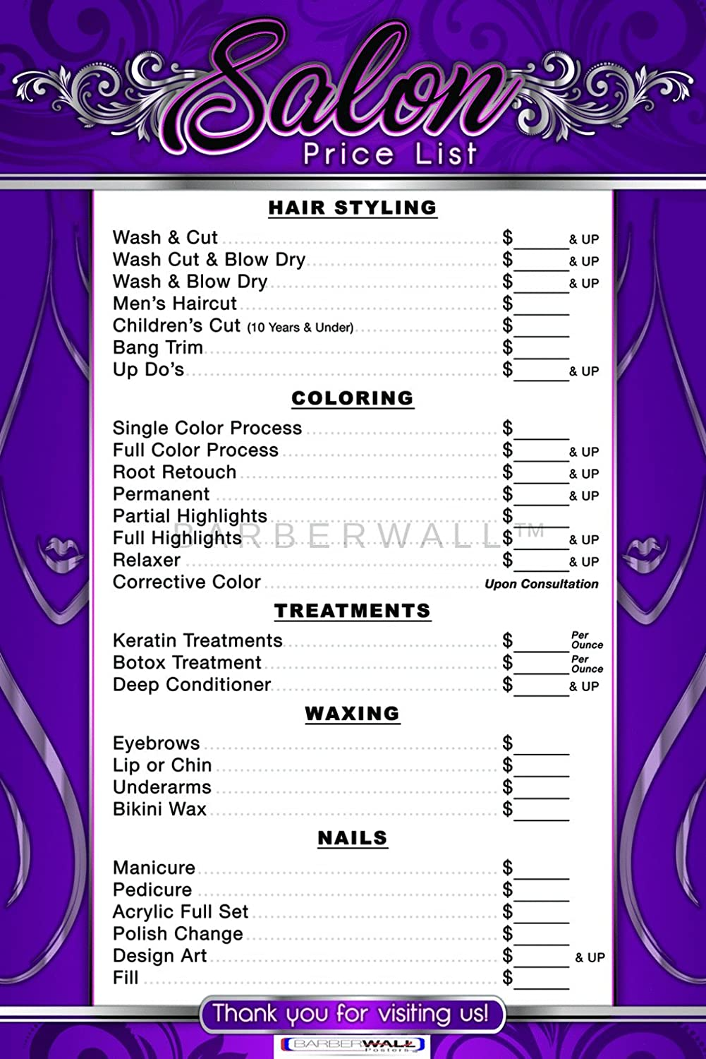 Barberwall® Price List For Beauty Salon By Salon Poster - Dimension 24 X 36 inches Laminated, You will love to have this beauty salon poster in your ...
