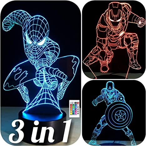 Night Lights 3d Led Vision 7 Colors Changing Iron Man Night Light Characters Table Lamp Bedroom Home Decor Baby Sleep Fixture Creative Gifts