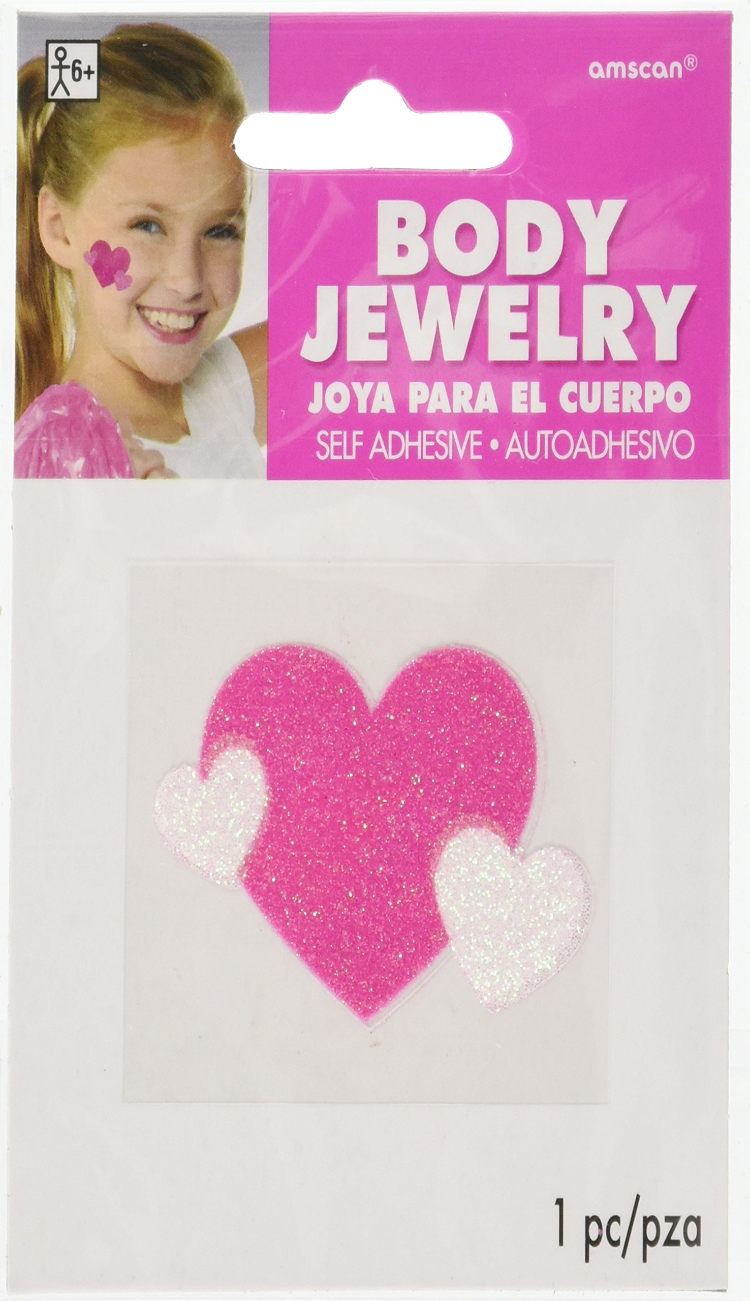 amscan Pink Spirit Glitter Body Jewelries, Party Accessory, 24 Ct.