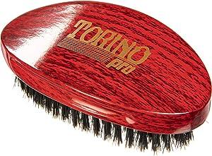 Torino Pro Medium Wave Brush #24- Curve Palm Medium Hair brush for 360 Waves- 100% medium boar bristle Curved Hair brush for men