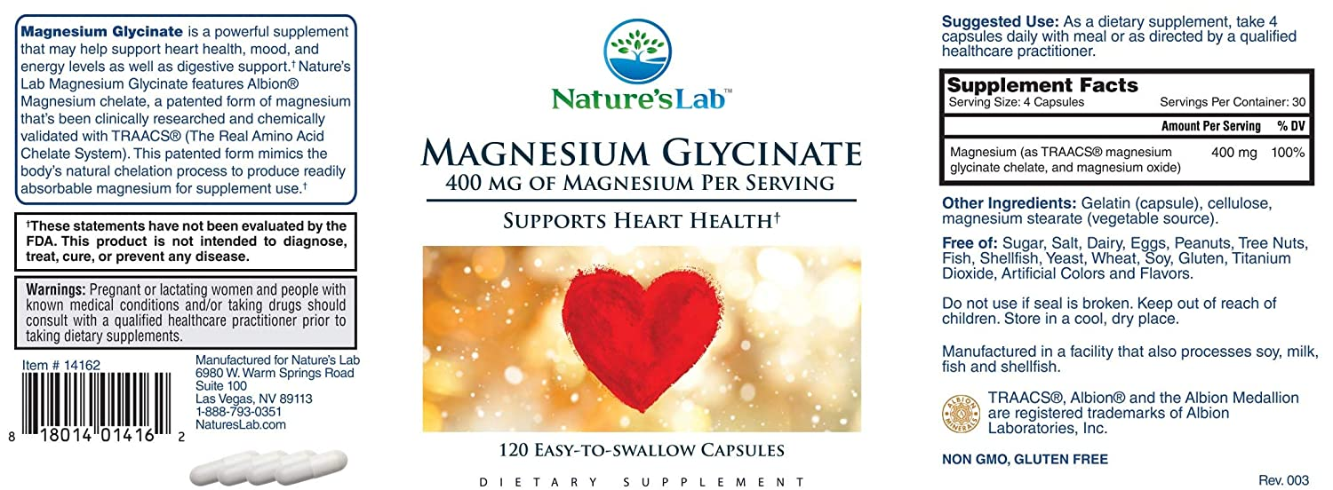 Amazon.com: Natures Lab Magnesium Glycinate Capsules, 120 Count: Health & Personal Care