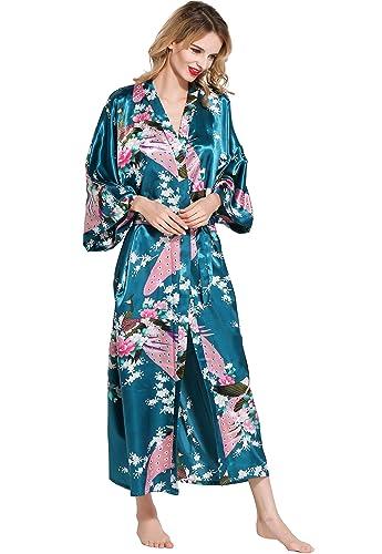BABEYOND Kimono de Seda Vestido de Satén Kimono Pavo Real Novia Pijamas de Seda Bata de Satén (Turquesa): Amazon.es: Ropa y accesorios