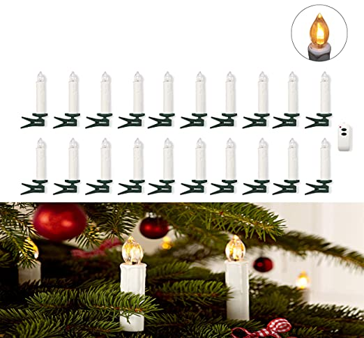 Set of 20 Warm White LED Christmas Tree Candle Lights with Clips and Remote  Control, - Amazon.com: Set Of 20 Warm White LED Christmas Tree Candle Lights