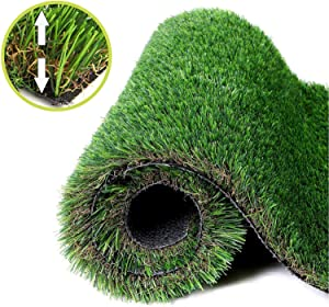 NAHI Realistic Thick Artificial Grass Rug,Indoor Outdoor Garden Lawn for Dogs Pets,Landscape Patio Synthetic Turf Mat,Thick Fake Faux Grass (3×5ft)