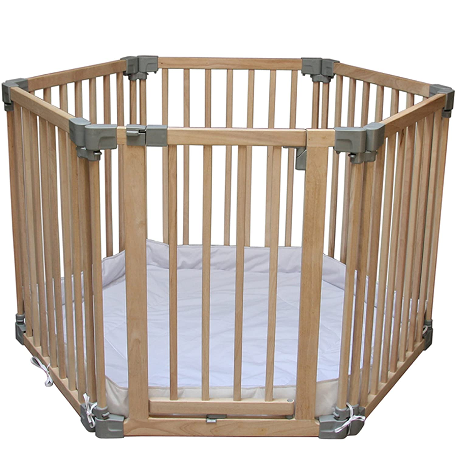 clippasafe natural wooden playpen with mat amazonca baby -
