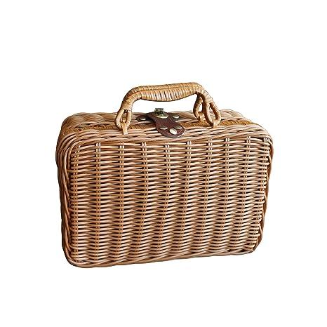Estuche de almacenamiento de mimbre de imitación vintage para picnic de viaje, cesta organizadora de ...