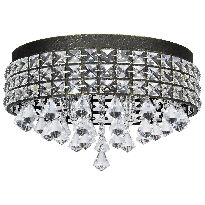 "Kira Home Gemma 15"" Contemporary 4-Light Flush Mount Crystal Chandelier, Brushed Black Finish"