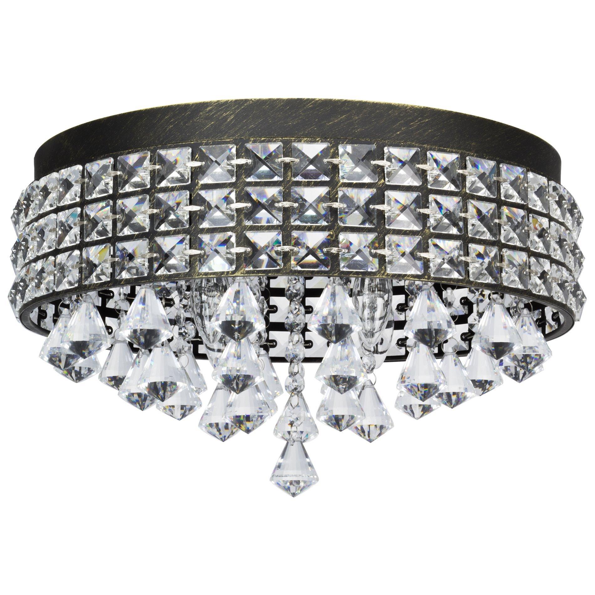 Revel/Kira Home Gemma 15'' 4-Light Flush Mount Crystal Chandelier, Brushed Black Finish