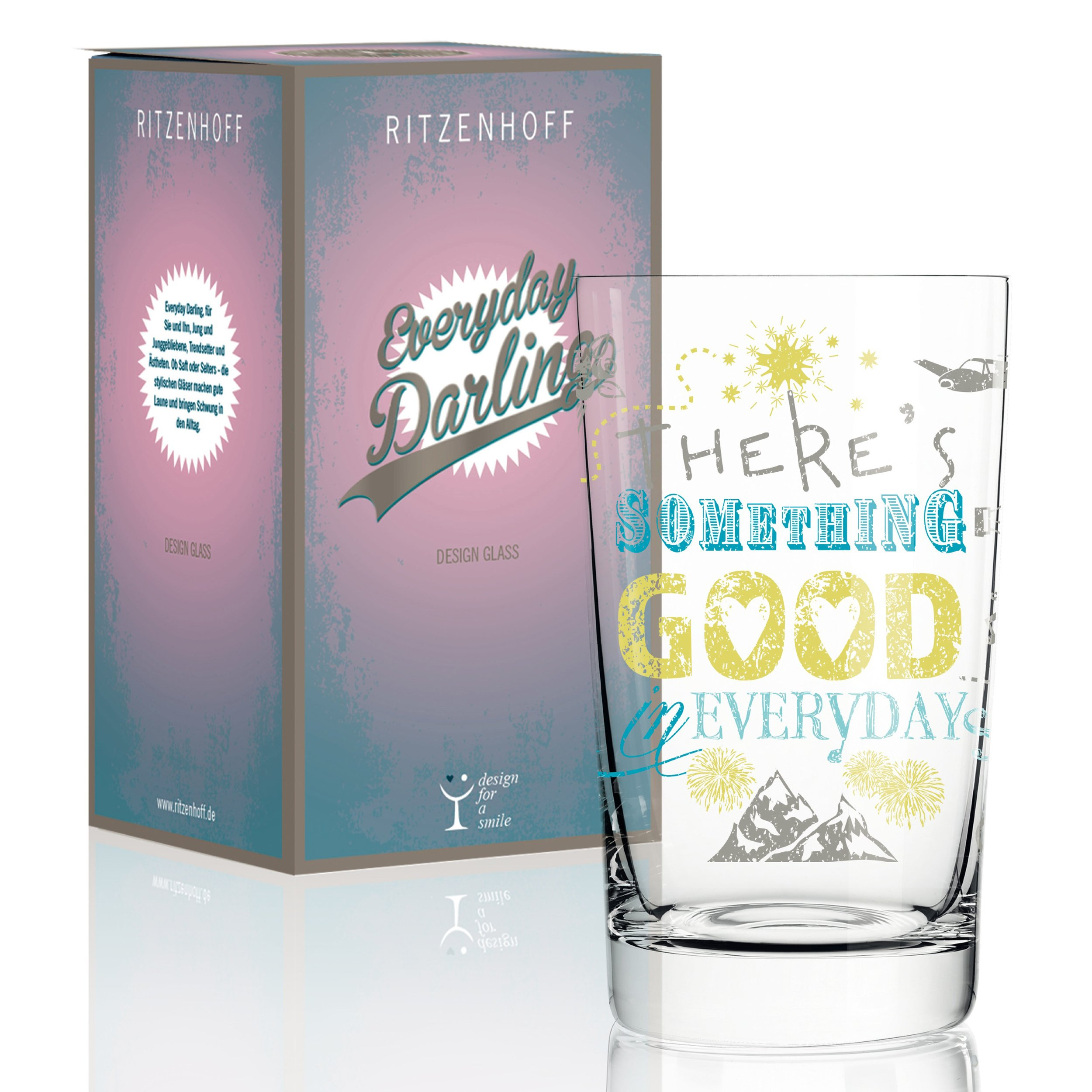 RITZENHOFF Everyday Darling Soft Drink Glass by Petra Mohr (Something Good), made of crystal glass, 300 ml, with trendy designs