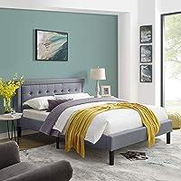 Vibe Mornington Upholstered Platform Bed   Headboard and Metal Frame with Wood Slat Support, Full, Grey
