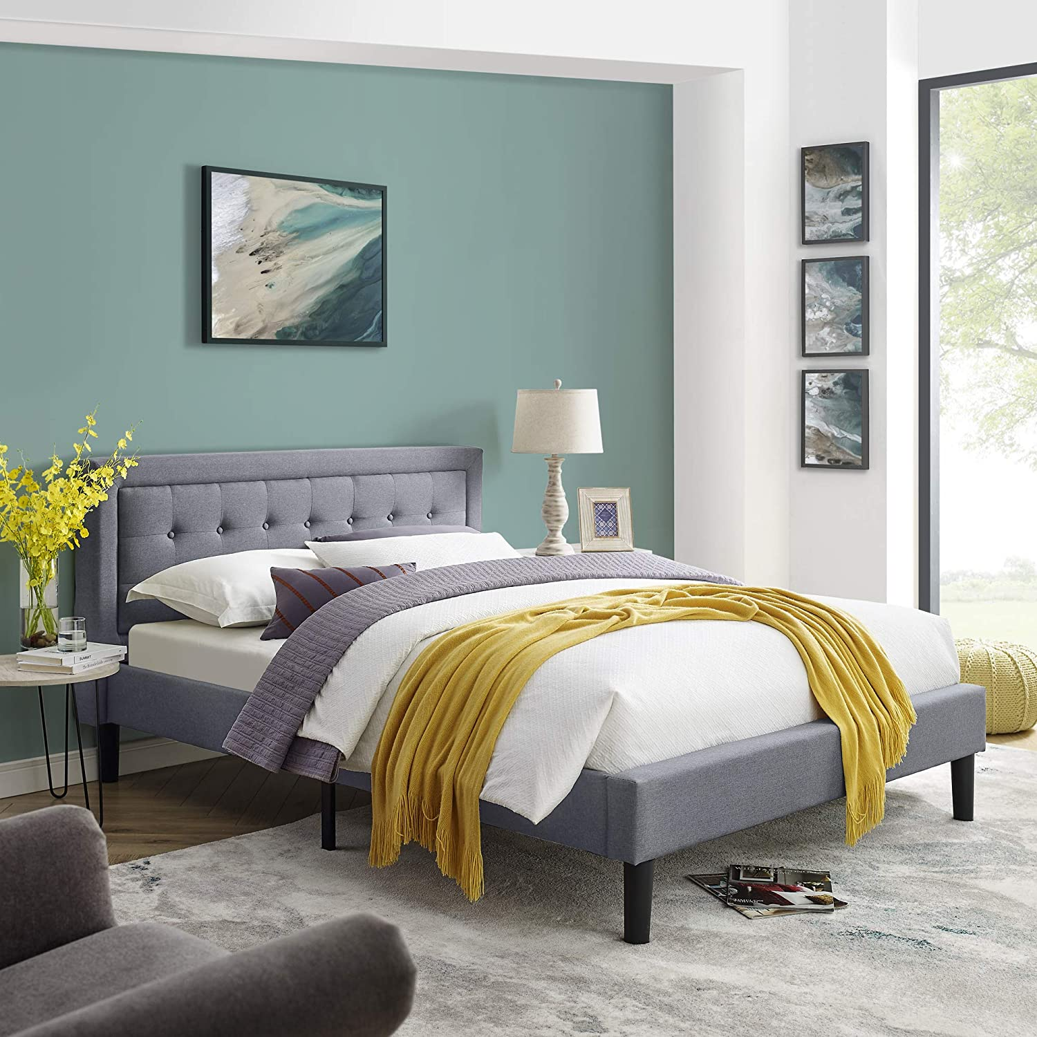 Mornington Upholstered Platform Bed Headboard and Metal Frame with Wood Slat Support Grey, Queen